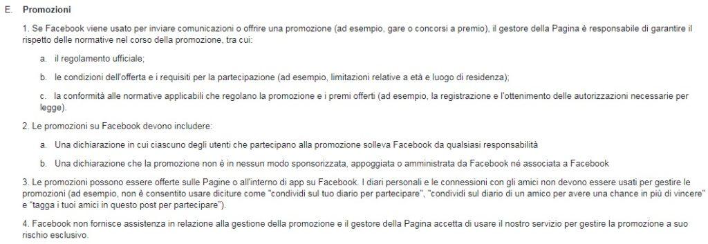 regolamento concorsi a premi su facebook
