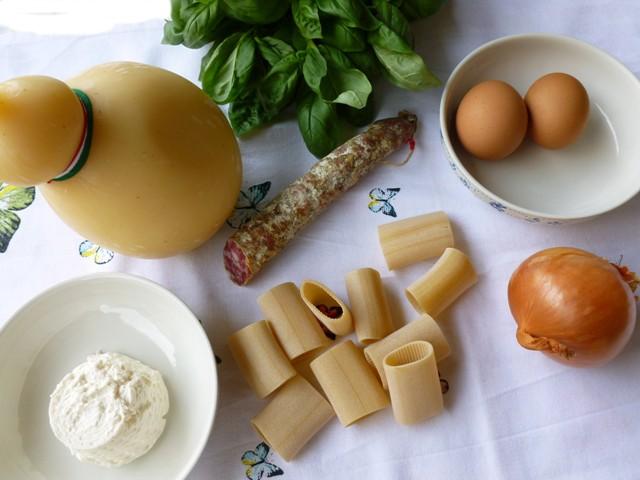 preparazione paccheri salame e caciocavallo step 1